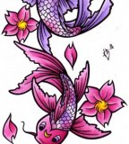 Purple Japanese Koi Fish Tattoo