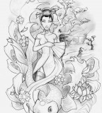 Geisha And Koi Fish Tattoo Design Idea