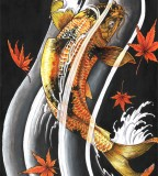 Cool Oriental Japanese Gold Lucky Koi Fish Tattoo