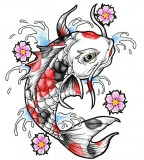 Japanese Red Black Koi Fish Tattoo