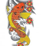 Beautiful Koi Fish Zodiac Tattoo Design