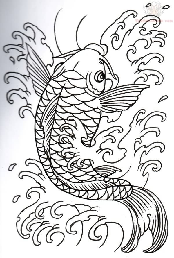 a06b0a840abd5 Japanese Koi Outline Tattoo Design - | TattooMagz › Tattoo Designs ...