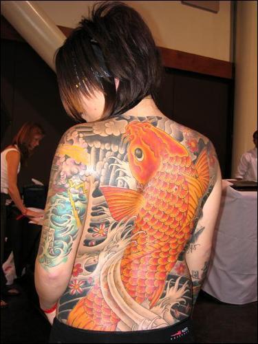 Awesome Full Back Orange Koi Coy Fish Shaped Tattoo Design