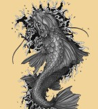 Awesome Grey Koi Coy Fish Tattoo Design Sketch