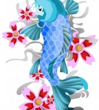 Cute Light Blue Koi Coy Fish Tattoo Design Sketch