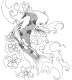 Awesome Koi Coy Fish Tattoo Design Sketch Pic