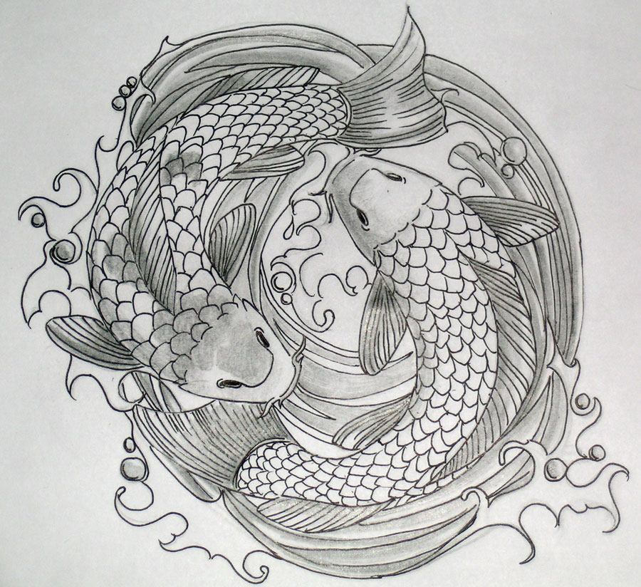 Double Koi Coy Fish Shaped Tattoo Design Sketch