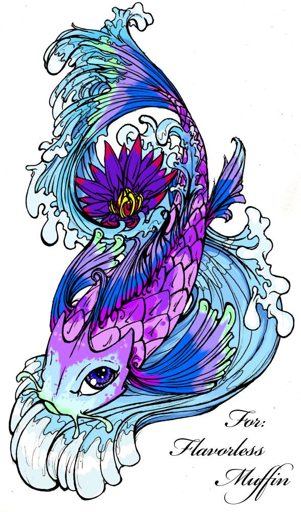 Bright Colorful Koi Coy Fish Tattoo Design Picture