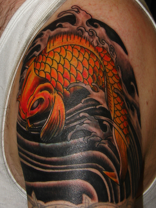 Superb Orange Colored Koi Coy Fish Tattoo Design on Right Arm