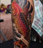 Symbolic Cool Koi Coy Fish Tattoo Design Picture