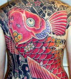 Big Pink Colored Koi Coy Fish Shaped Tattoo on Back