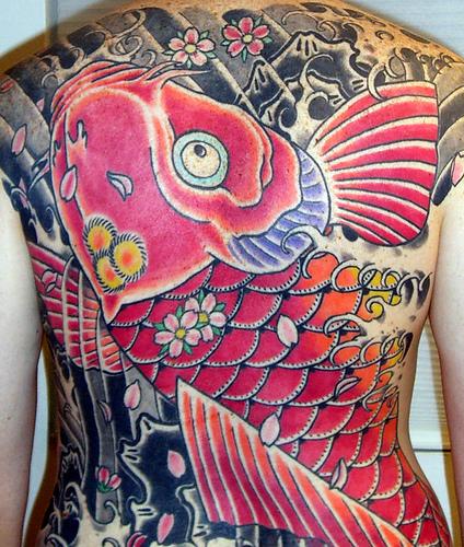 Big Pink Colored Koi Coy Fish Shaped Tattoo on Back