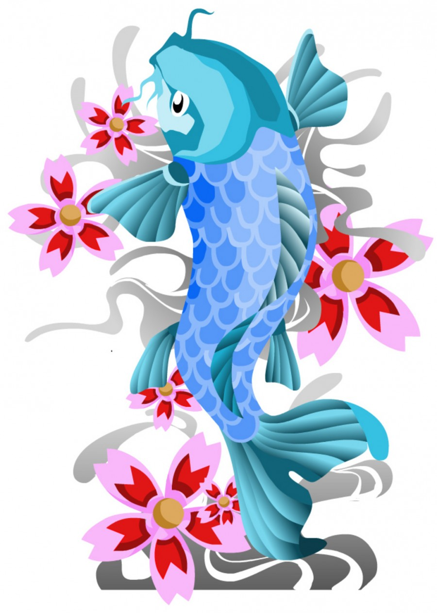 Mystical Light Blue Koi Coy FIsh Tattoo Design Sketch
