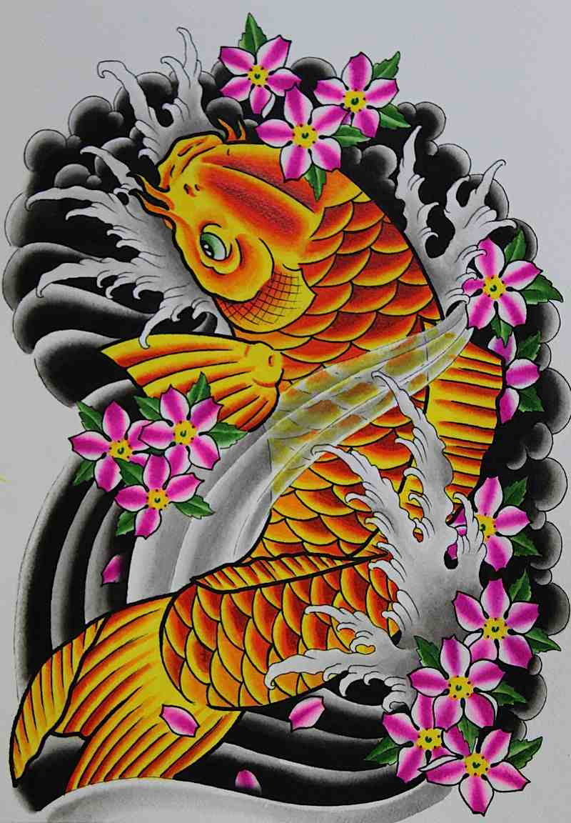 Orange Colored Koi Coy Fish Shaped Tattoo Design Sketch