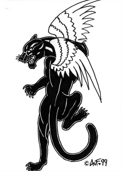 Black Panther with Wings Tattoo
