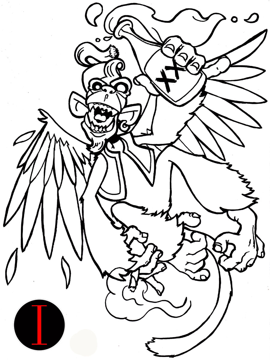 For Your Own Tattoo Drunken Monkey Tattoo Design - | TattooMagz ...