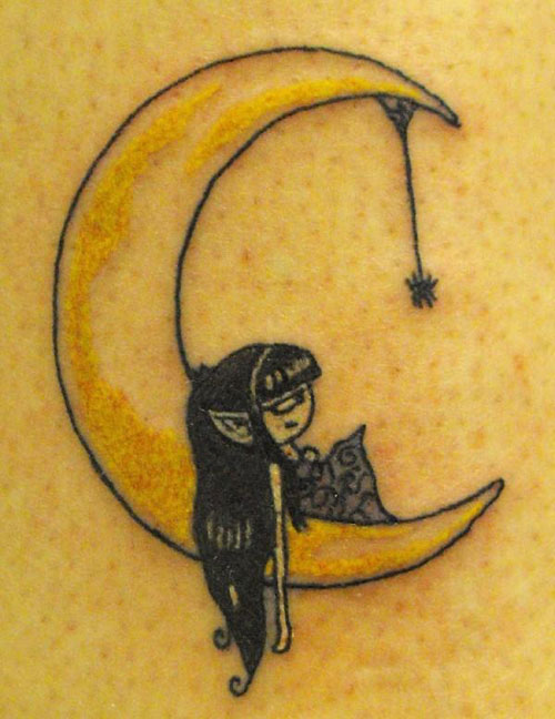 Meaningful Yellow Crescent Moon with Little Girl Tattoo