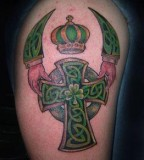 Green Celtic Cross Crown Tattoos