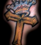 Colourful Cross And Crown Tattoo Artists