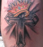 Cross Crown And Wings Across The Chest Tattoo Serbagunamarine