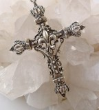 Cross Pendant With Fleur De Lis Center Amp Crowns