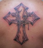 Cross Thorn Crown Tattoo