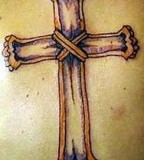 Crown Cross Wooden tattoos