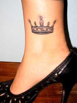 Crown Tattoos in Woman's Legs