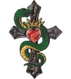 Snake Cross And Crown Tattoo Art Patch By Mysticunicorn On Etsy