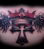 Tattoos Eli Williams Cross Crown And Wings Across The Chest