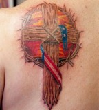 Wooden Cross With Crown Of Thorns Religious Tattoo