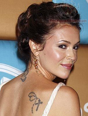 Alyssa Milano Back Tattoo