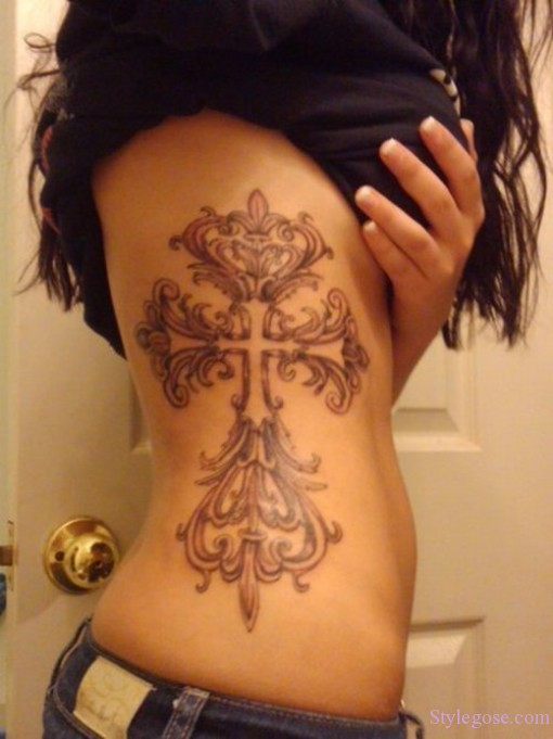 Plain Cross Tattoo Design for Girl