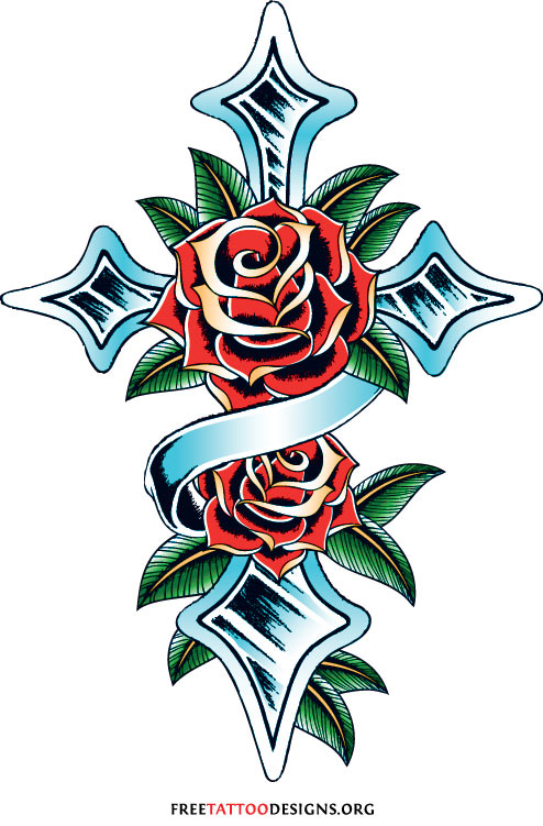 Cross And Rose Tattoos Meaning Of God