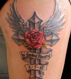 Angel Memorial Cross and Rose Tattoo Ideas