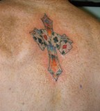 Cards And Cross Tattoo On Back For Man