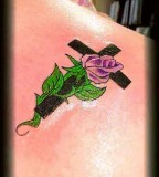 Elegan Cross and Rose Tattoo By Hoss Llc
