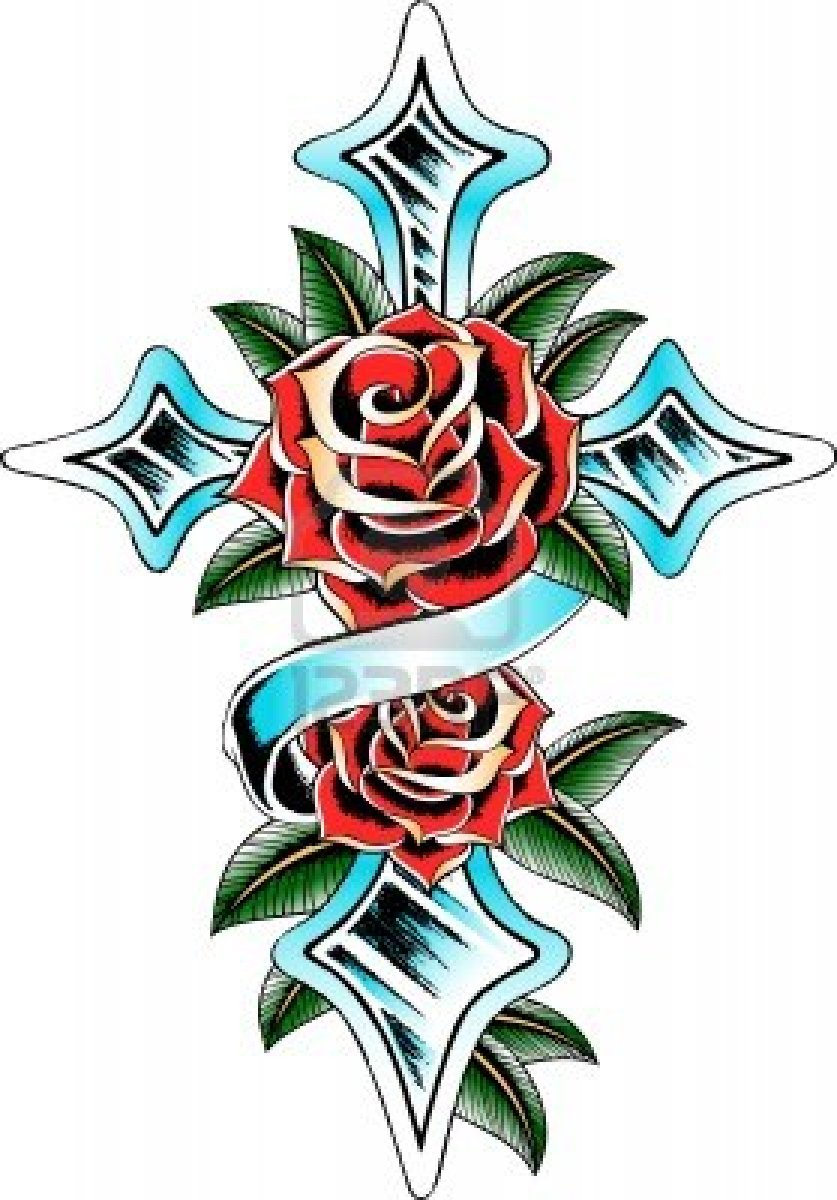 The Rosy Cross And Rose Ribbon Tattoo PIctures
