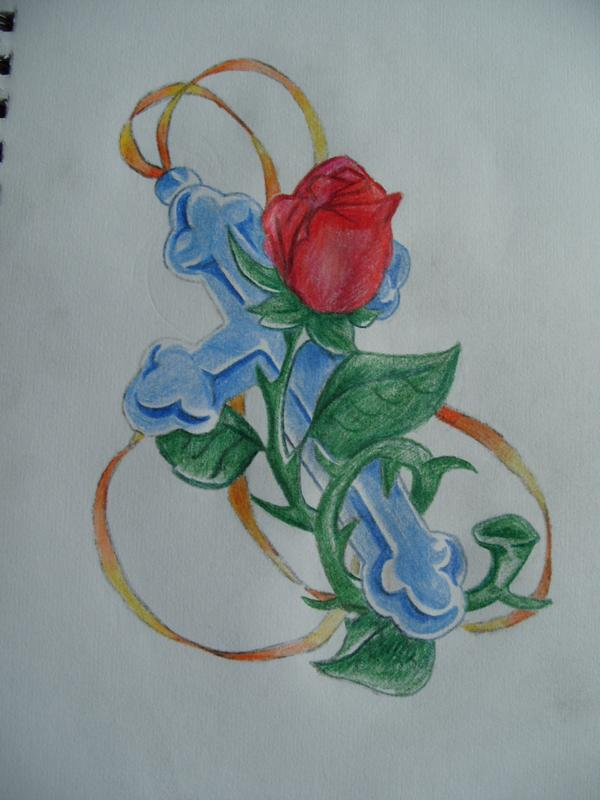 Colored Cross And Rose Tattoo Design Ideas