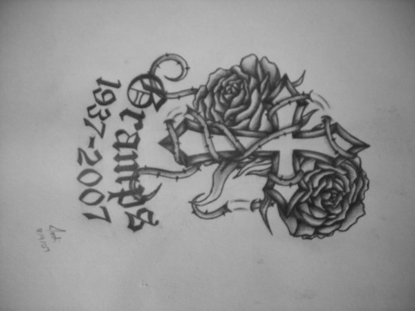Cross And Rose Tattoo Gramps Design