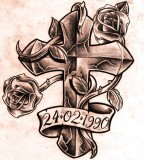 Example Image For Cross And Roses Tattoo