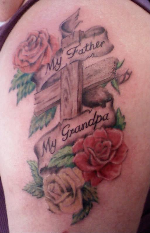 Cross And Roses Tattoo Full of Memories