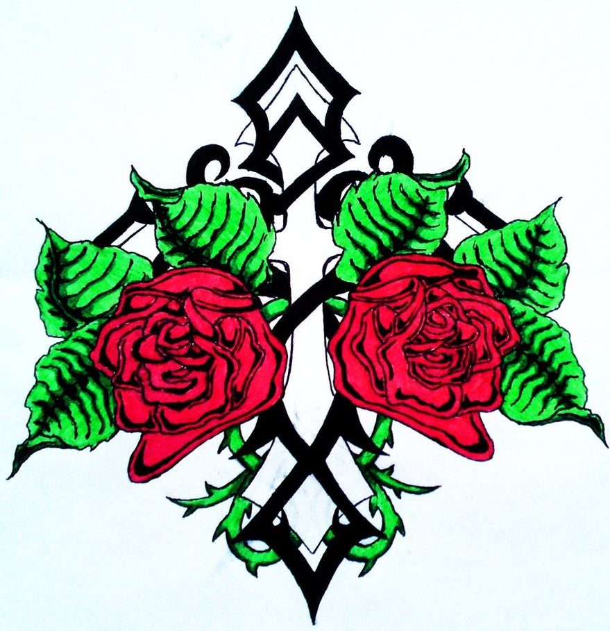 Drawing Simple Cross Rose Tattoo