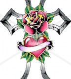 Cross With Rose Tattoo Stock Illustration Veer