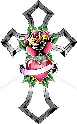 Cross With Rose Tattoo Stock Illustration Veer