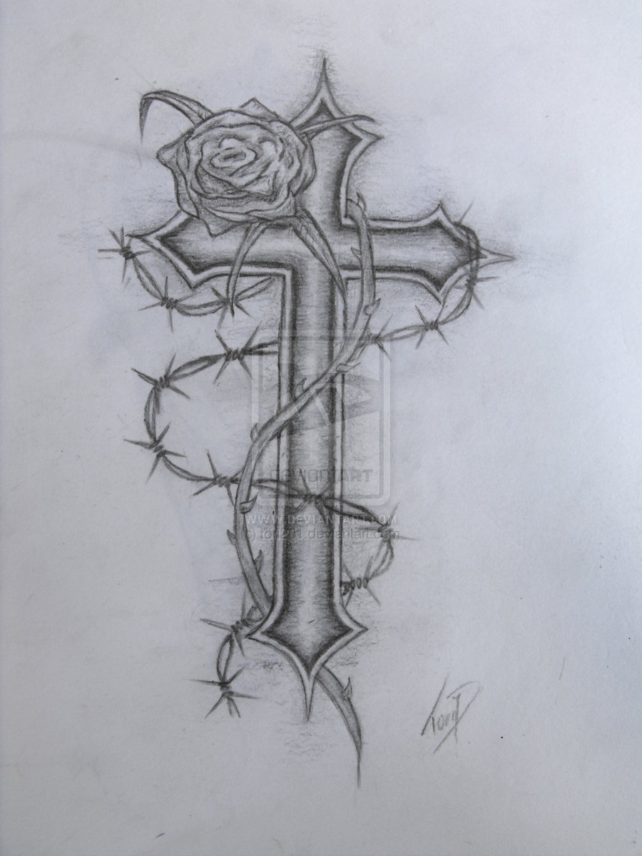 Cross With Rose Wraped Tattoo Design Images
