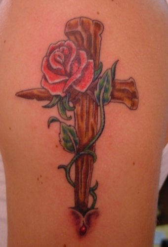 Cross and Beauty Red Roses For Girls