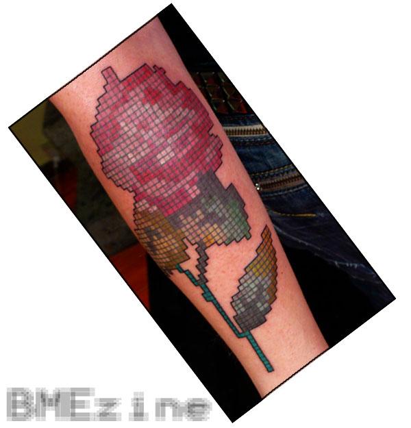 Bright Rose Tattoo Black Stem For Girls