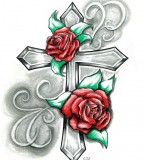 Beautiful Drawing Rose and Cross Design