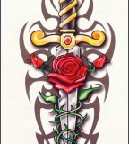 Rose and Cross Tattoos and Unique Art Tattoo Designs